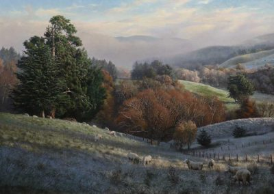 "A Winter's Morning, Oil on Belgium Linen, Size: 54""x36"" inches, Price available on request."