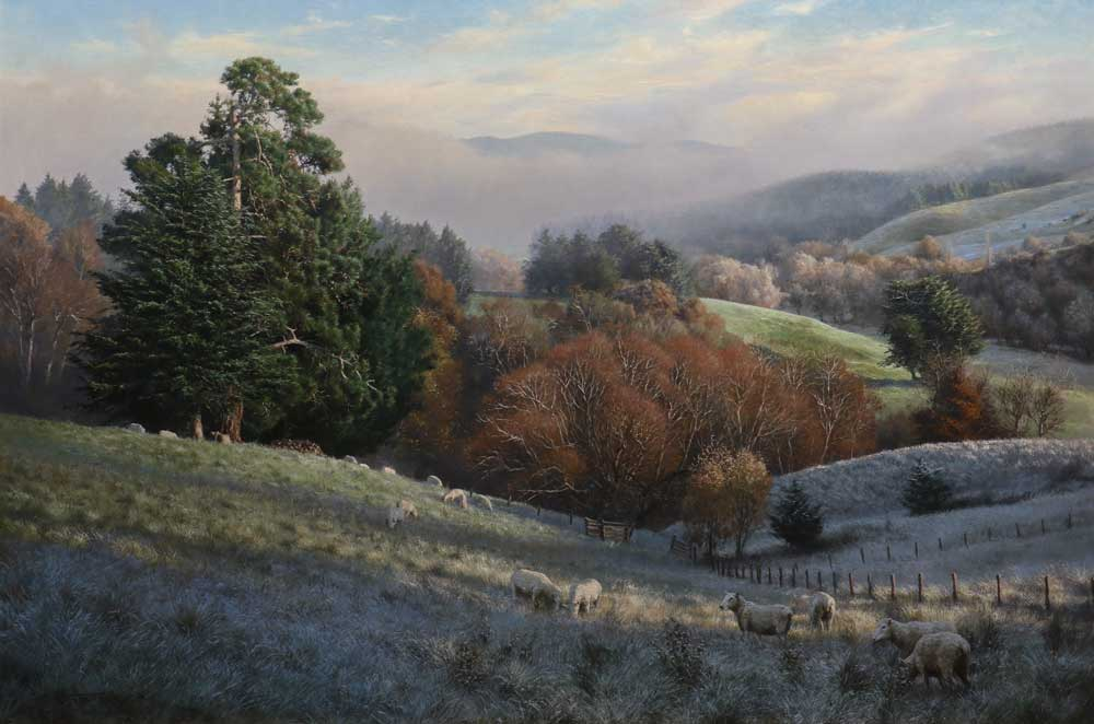 """A Winter's Morning, Oil on Belgium Linen, Size: 54""""x36"""" inches, Price available on request."""