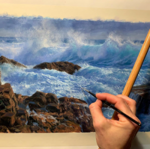 Seascape oil painting - Wave -Rocks - by Andrew Tischler