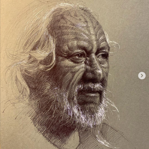 Ball point portrait sketch by Andrew Tischler